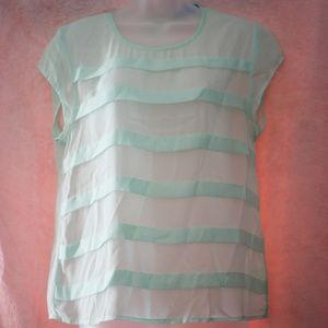 Sheer Mint Blouse with Gold Zipper